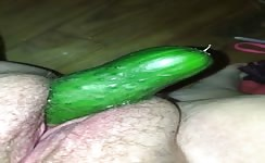 Peeing on a cucumber