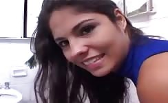 Hot brunette latina shitting