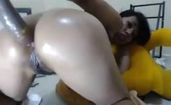Hairy babe rides a dildo