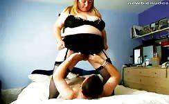 Fat blonde peeing on boyfriend's face