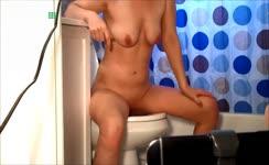 Blonde milf pooping naked