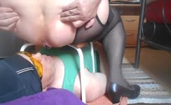 BBW mistress feeds male slave with poop