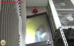 Two college girls poop by turn in balcony