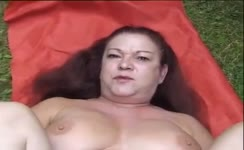 Hairy babe decides to poop outdoor